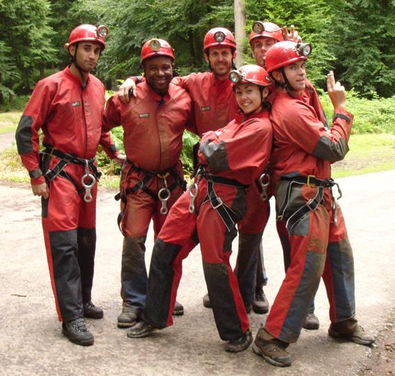 Cavers getting ready for caving at Symonds Yat