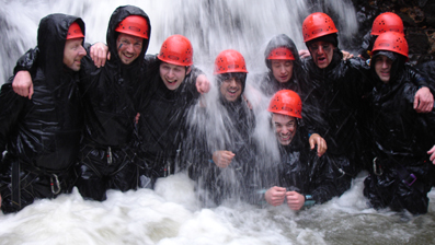 Outdoor Activities - Gorge Waliking in Wales - Mixed group Gorge Walking in the Brecon Beacons