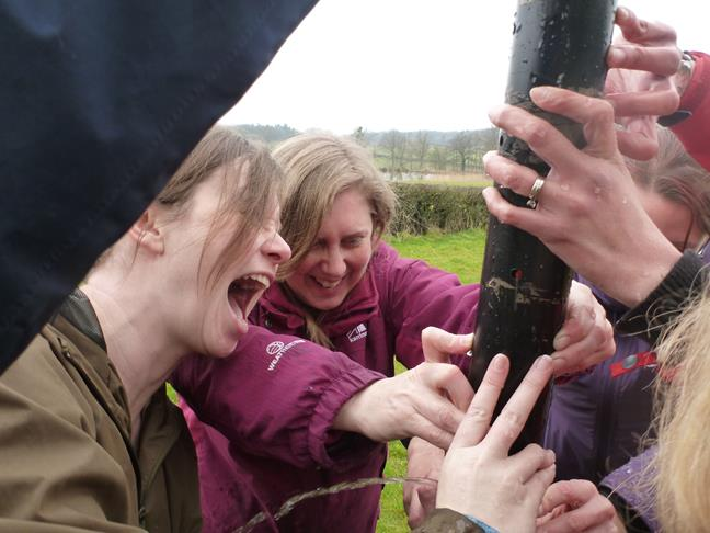 Outdoor Activities - Team Challenge in Wales - Hen Party Plugging a Leak in our Team Challenge in Wales